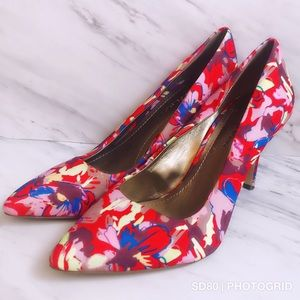 BCBGeneration Multi Color Floral Pumps Heels 7 B
